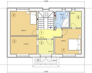 Проект двухэтажного дома, 134,8 м2