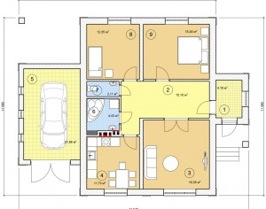 Проект одноэтажного дома, 107,0 м2