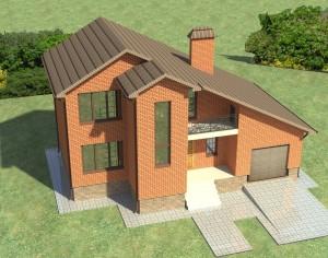 Проект двухэтажного дома, 127,4 м2