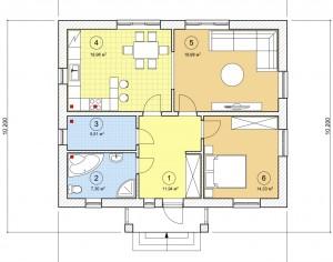 Проект одноэтажного дома, 79,04 м2