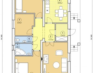 Проект одноэтажного дома, 103,16 м2