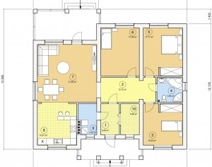 Проект одноэтажного дома, 132,18 м2