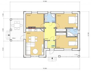 Проект одноэтажного дома, 89,44 м2