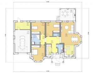 Проект одноэтажного дома, 197,95 м2
