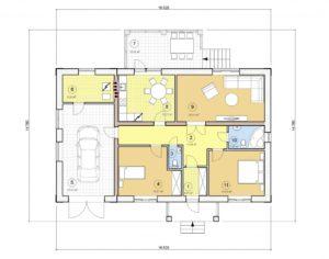 Проект одноэтажного дома, 135,33 м2