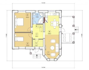 Проект одноэтажного дома, 82,73 м2