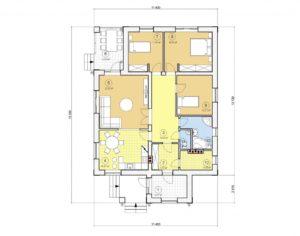 Проект одноэтажного дома, 121,21 м2