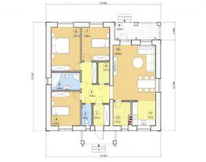Проект одноэтажного дома, 122,77 м2
