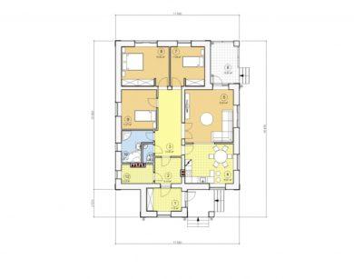 Проект одноэтажного дома, 131,75 м2