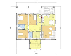Проект одноэтажного дома, 142,86 м2