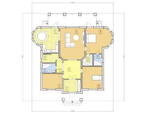 Проект одноэтажного дома, 151,88 м2