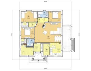 Проект одноэтажного дома, 128,15 м2