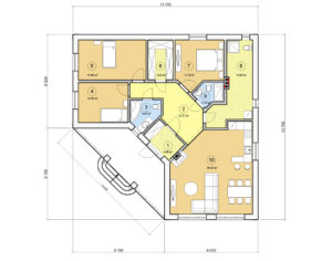 Проект одноэтажного дома, 117,73 м2