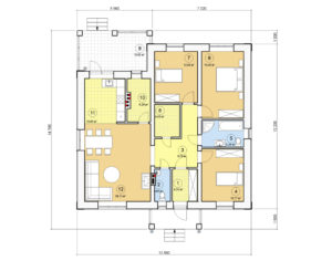 Проект одноэтажного дома, 127,01 м2