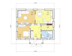 Проект одноэтажного дома, 77,59 м2