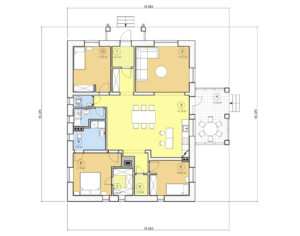 Проект одноэтажного дома, 141,17 м2