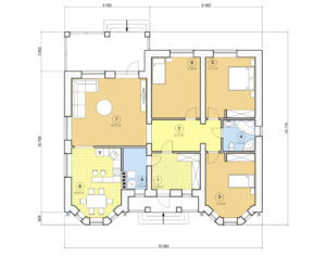 Проект одноэтажного дома, 135,65 м2