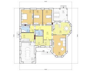 Проект одноэтажного дома, 221,24 м2