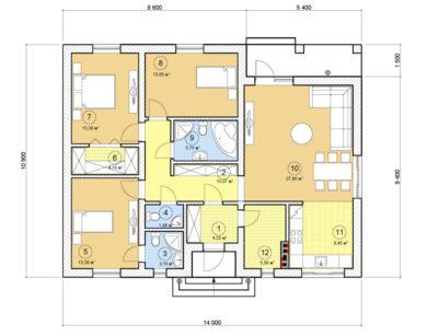 Проект одноэтажного дома, 111,95 м2