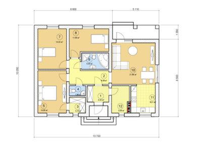 Проект одноэтажного дома, 99,16 м2