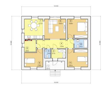 Проект одноэтажного дома, 99,87 м2