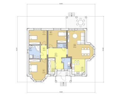 Проект одноэтажного дома, 148,12 м2
