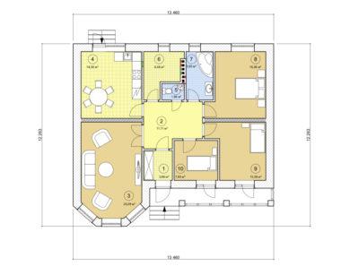 Проект одноэтажного дома, 109,64 м2