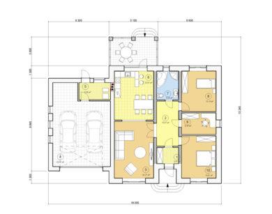 Проект одноэтажного дома, 157,86 м2