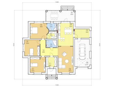Проект одноэтажного дома, 189,55 м2