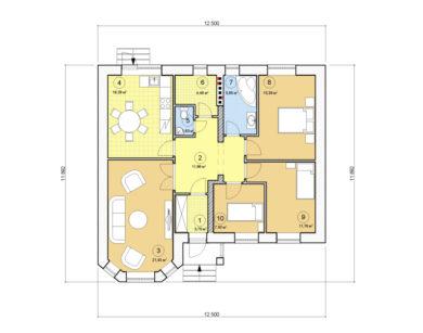Проект одноэтажного дома, 99,85 м2