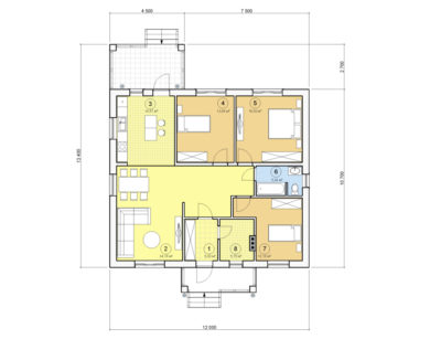 Проект одноэтажного дома, 105,95 м2