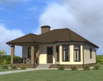 Проект одноэтажного дома, 102,14 м2