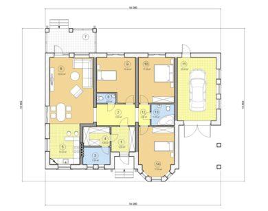 Проект одноэтажного дома, 154,90 м2