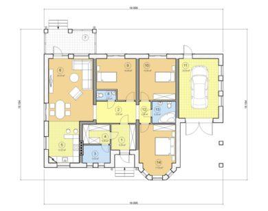 Проект одноэтажного дома, 148,80 м2