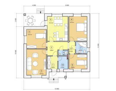 Проект одноэтажного дома, 107,13 м2