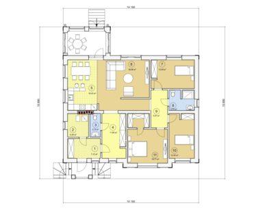 Проект одноэтажного дома, 129,64 м2