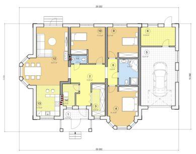 Проект одноэтажного дома, 186,73 м2