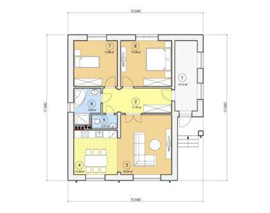 Проект одноэтажного дома, 89,87 м2