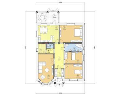 Проект одноэтажного дома, 149,08 м2