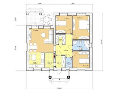 Проект одноэтажного дома, 99,73 м2