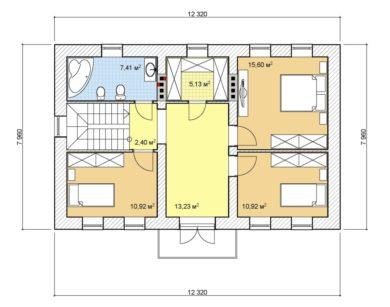 Проект двухэтажного дома, 136,69 м2