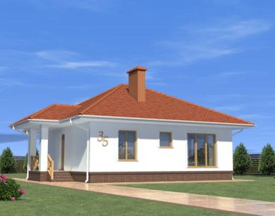 Проект одноэтажного дома, 79,23 м2