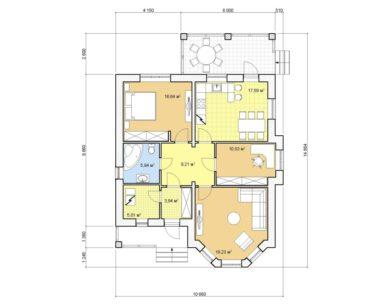 Проект одноэтажного дома, 87,60 м2