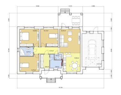 Проект одноэтажного дома, 145,78 м2