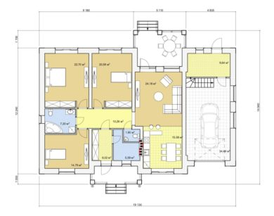 Проект одноэтажного дома, 172,95 м2