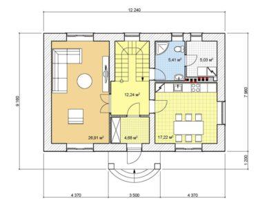 Проект двухэтажного дома, 137,55 м2