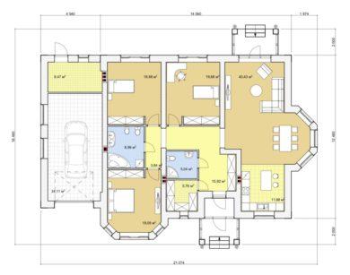 Проект одноэтажного дома, 193,85 м2