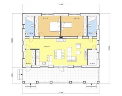 Проект одноэтажного дома, 121,13 м2