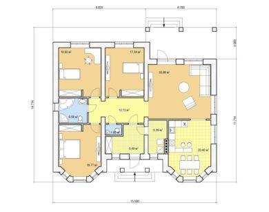 Проект одноэтажного дома, 141,18 м2