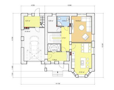 Проект дома с мансардой, 175,29 м2